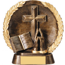 Religious Trophy - Bronze Cross, Bible, Praying Hands Trophy