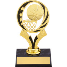 Basketball Trophy - Basketball Trophy With Gold Hoop Riser