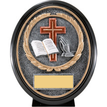 Religious Trophy - Oval Cross, Bible, Praying Hands Trophy