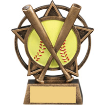 Softball Star Orbit Resin Trophy