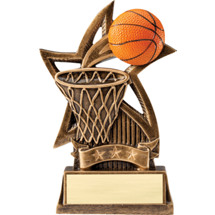 Resin Basketball Hoop & Ball Star Trophy