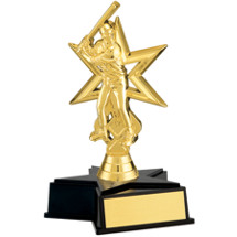 Boy's Gold Baseball Trophy with Star Base