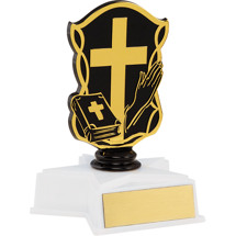 NEW! Cross and Bible Trophy with Star Base