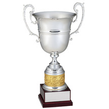 "22"" Italian Metal Cup Trophy with High Gloss Wood Base"