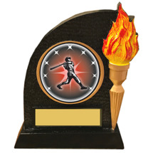 Baseball Trophy with Victory Torch and Baseball Emblem