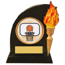 Basketball Trophy with Victory Torch and Basketball Emblem