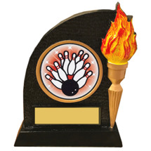 Bowling Trophy with Victory Torch and Bowling Emblem