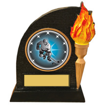 Hockey Trophy with Victory Torch and Hockey Emblem