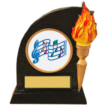 Music Trophy with Victory Torch and Music Notes Emblem