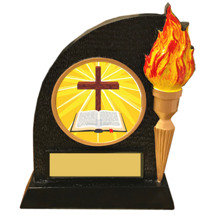 Cross and Bible Trophy with Victory Torch and Cross Emblem