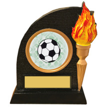 Soccer Trophy with Victory Torch and Soccer Emblem