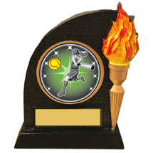 Softball Trophy with Victory Torch and Softball Emblem