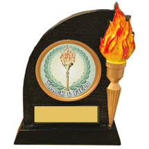 Track and Field Trophy with Victory Torch and Track Emblem