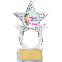 "7 1/2"" Clear Acrylic Star World's Greatest Mom Trophy"