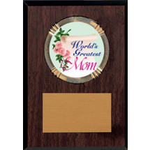 "5 x 7"" World's Greatest Mom Walnut-tone Plaque"