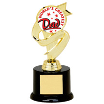"6 3/4"" Black Acrylic ""World's Greatest Dad"" Trophy"