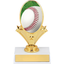 "Baseball Trophy - 5 3/4"" Baseball Oval Riser Trophy"