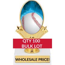 Buy in Bulk Baseball Trophy - Baseball Oval Trophy-Qty 100