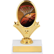 "Basketball Trophy - 5 3/4"" Basketball Oval Riser Trophy"