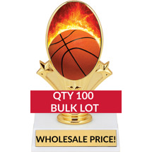 Buy in Bulk Basketball Trophy - Basketball Oval Trophy-Qty 100