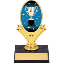 "Achievement Trophy Oval Riser Trophy - 5 3/4"" - Black Base"