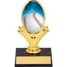 "Baseball Trophy - 5 3/4"" Baseball Oval Riser Trophy - Black Base"