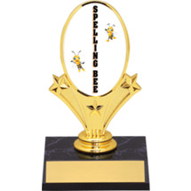 "Spelling Bee Oval Riser Trophy - 5 3/4"" - Black Base"