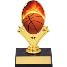 Basketball Trophy - Basketball Oval Riser Trophy - Black Base