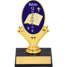 "Bible Quizzing Oval Riser Trophy - 5 3/4"" - Black Base"