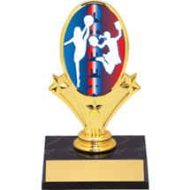 "Cheerleading Oval Riser Trophy - 5 3/4"" - Black Base"