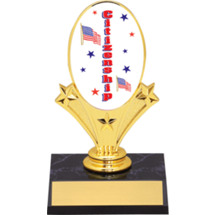 "Citizenship Oval Riser Trophy 5 3/4"" - Black Base"
