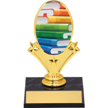 "Education Oval Riser Trophy - 5 3/4"" - Black Base"