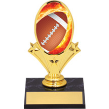 "Football Oval Riser Trophy - 5 3/4"" - Black Base"