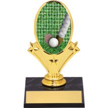 "Field Hockey Oval Riser Trophy - 5 3/4""  - Black Base"