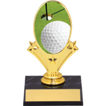 "Golf Oval Riser Trophy - 5 3/4"" - Black Base"