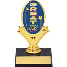 "Great Job Oval Riser Trophy - 5 3/4"" - Black Base"