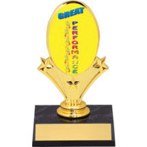 "Great Performance Oval Riser Trophy - 5 3/4"" - Black Base"
