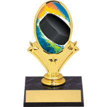 "Hockey Oval Riser Trophy - 5 3/4"" - Black Base"