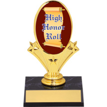 "High Honor Roll Oval Riser Trophy - 5 3/4"" - Black Base"