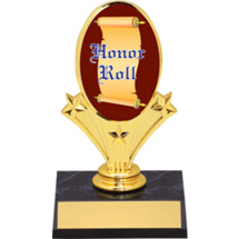 "Honor Roll Oval Riser Trophy - 5 3/4"" - Black Base"