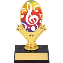 "Music Oval Riser Trophy - 5 3/4"" - Black Base"