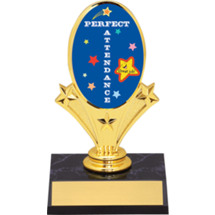 School Trophy - Perfect Attendance Oval Riser Trophy - Black Base