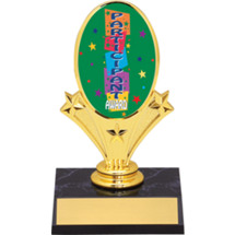 "Participant Oval Riser Trophy - 5 3/4"" - Black Base"