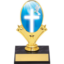 "Religion Oval Riser Trophy - 5 3/4"" - Black Base"