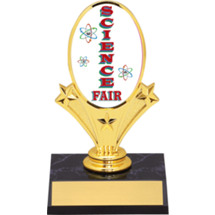 "Science Fair Oval Riser Trophy - 5 3/4"" - Black Base"