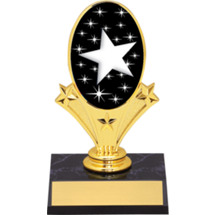 "Star Oval Riser Trophy - 5 3/4"" - Black Base"