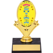 "Super Star Oval Riser Trophy - 5 3/4""  - Black Base"