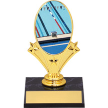 "Swimming Oval Riser Trophy - 5 3/4"" - Black Base"