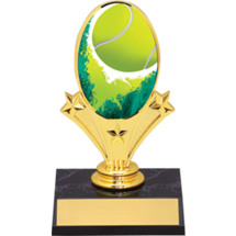 "Tennis Oval Riser Trophy - 5 3/4"" - Black Base"
