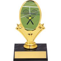 """Tennis Oval Riser Trophy - 5 3/4"""" - Black Base"""